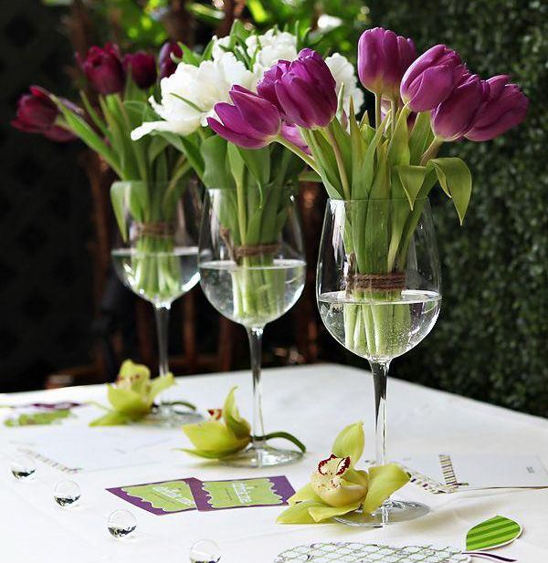 Arreglo floral en copas