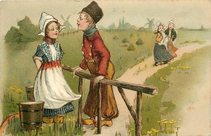 Dutch boy ♥leans on fence, towards girl with two pails, two girls on path