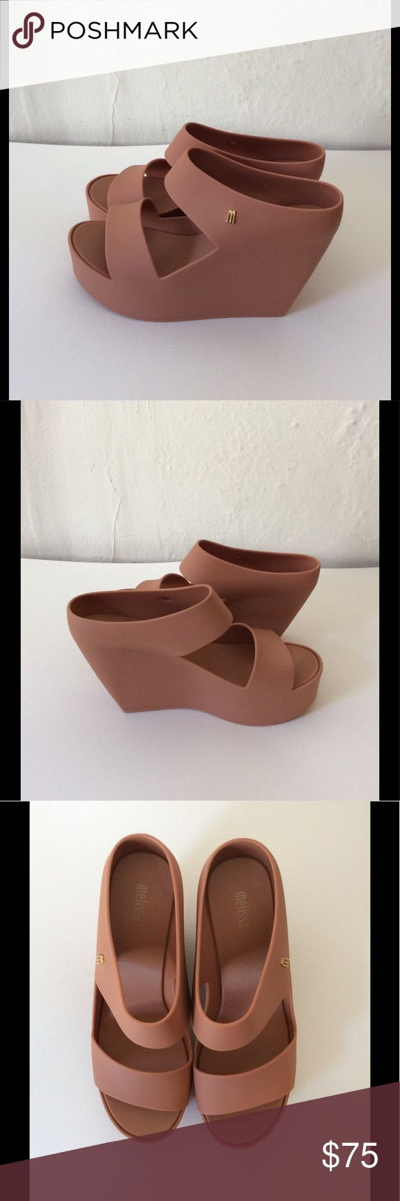 "Mellisa Shoes Creative Women's Wedge Shoes Nude Brand new with Box. Never worn. Size: 6 B(M). Color: Nude. Heel height: 3 1/2"". Platform height: 1 1/4"". Material: Synthetic. The Shoes runs big. If you are size 7, this size should work for you. mellisa shoes Shoes Wedges"