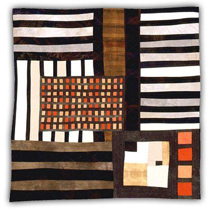 "Orange Grid 2000, 50"" x 50""  Eleanor McCain Art Quilts"