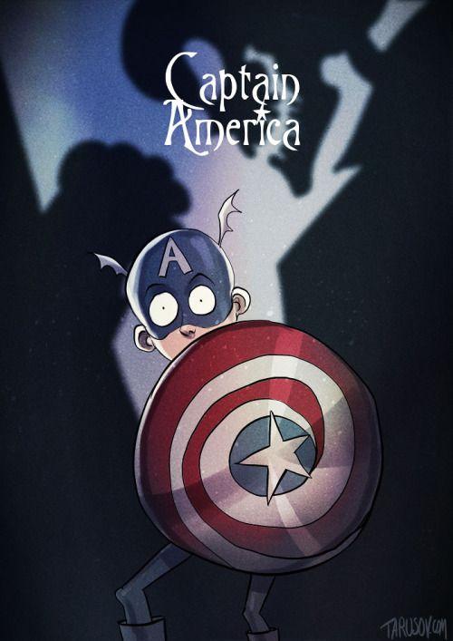 If Tim Burton Illustrated Superheroes: Captain America - Andrew Tarusov