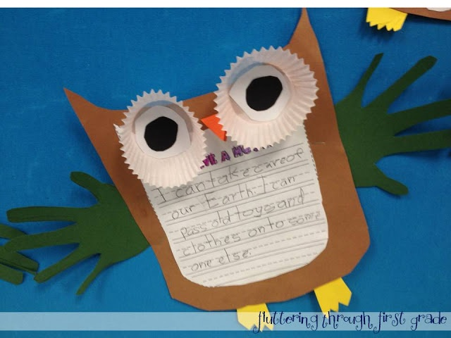 Earth day owl writing project
