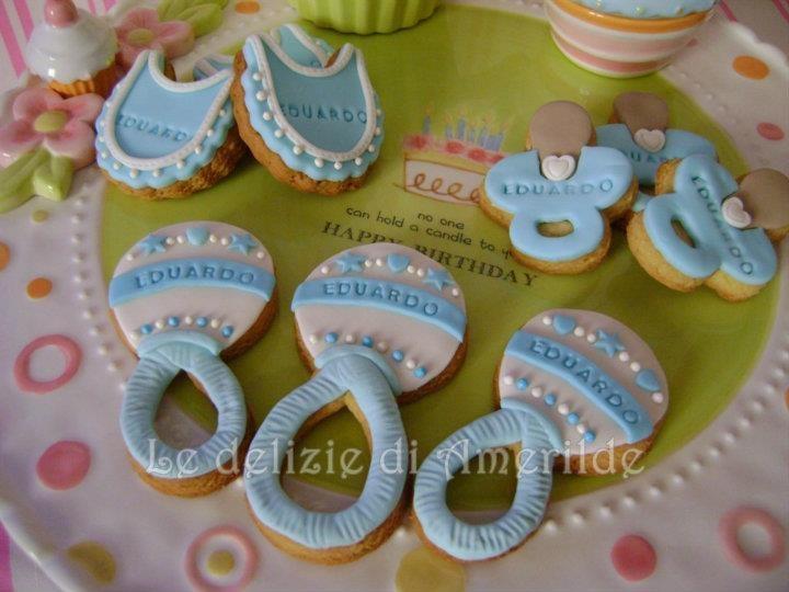 "Le Delizie di Amerilde. Baby Cookies. ""A Baby Boy is born"" Cookies from www.ledeliziediamerilde.it"
