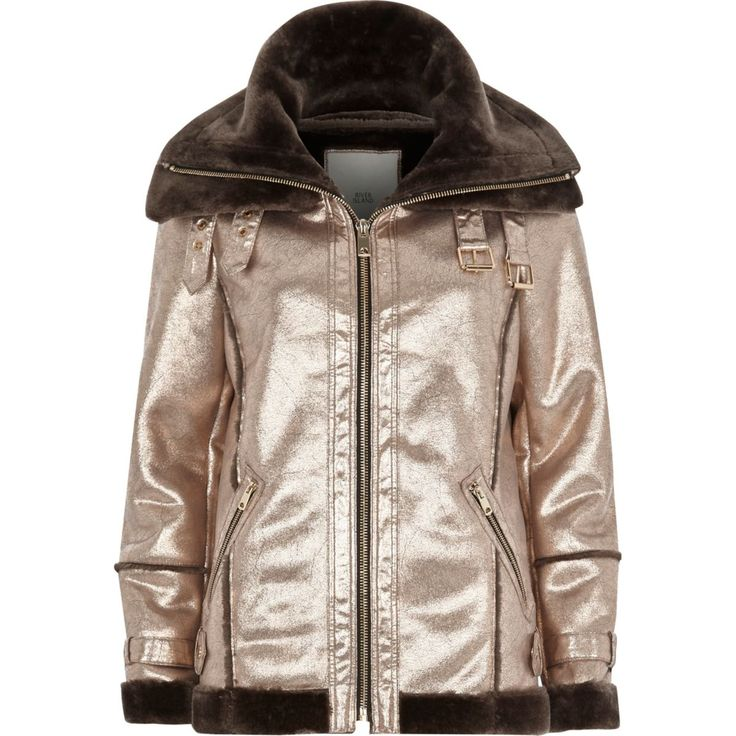 Silver cracked coated metallic aviator jacket