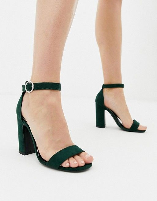 cd00a8fbd3a New Look barely there block heeled sandal in dark green   ASOS ...