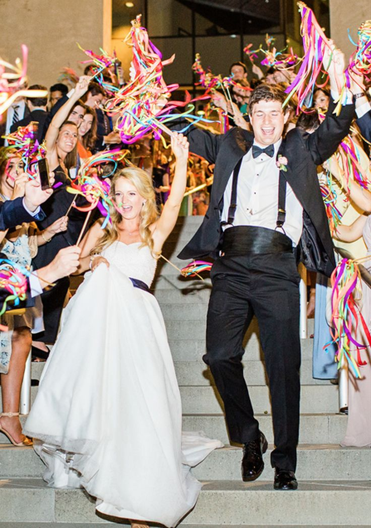 diy creative and colorful ribbon wand exit mint museum uptown charlotte wedding reception venue