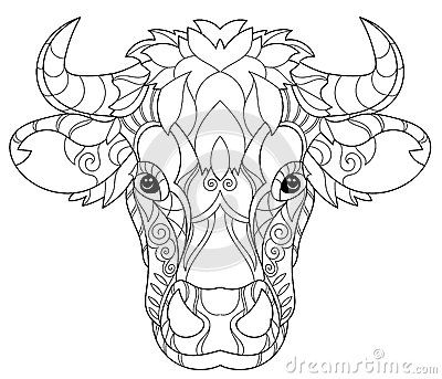 Coloring Pages Print Hand Drawn Doodle Outline Cow Head Decorated With Ornaments