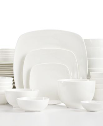 white elements dinnerware hampton square 42 piece set mix n match with - White Dinnerware Sets
