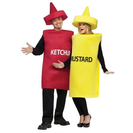 Funny Couples Costumes | Ketchup-Mustard Bottle Funny Costume