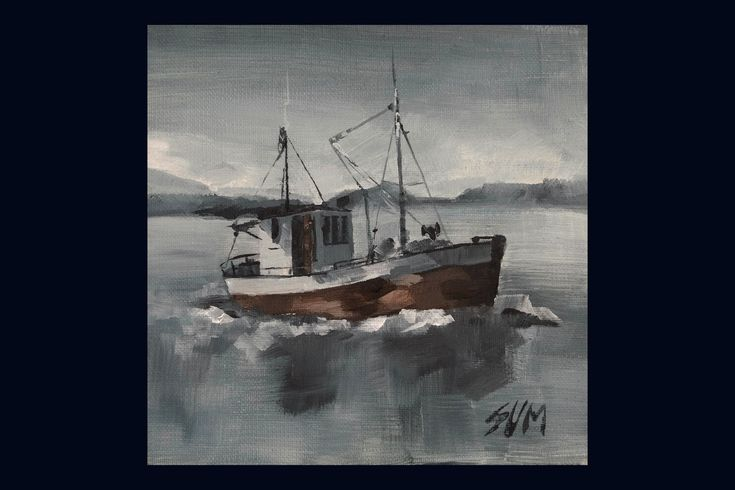 """""""Fishing boat"""". 210$. This painting gives a feeling of calm fishing weather. It s a sentimental painting that takes us back one step to enjoy the calm and old fishing vessels."""