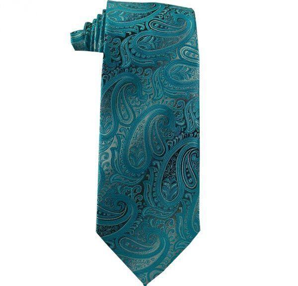 turquoise paisley tie, extra long tie