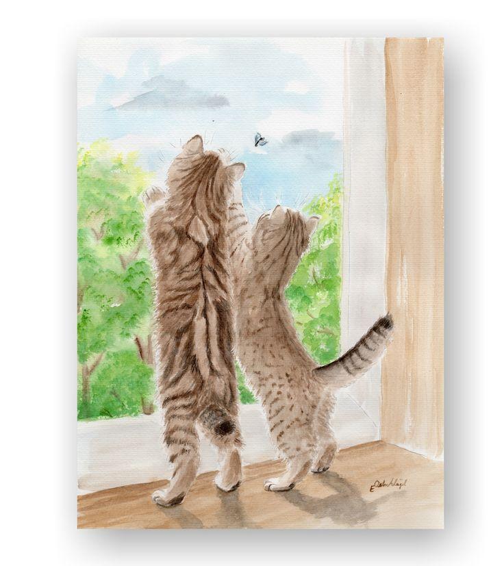 Katzen fangen eine Fliege (Fensterputzer)