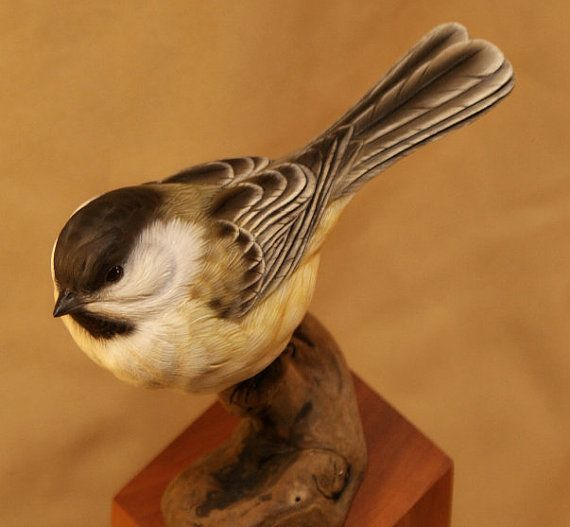 This is wood and paint. What?!? Chickadee by FowlPlayStudiosInc on Etsy
