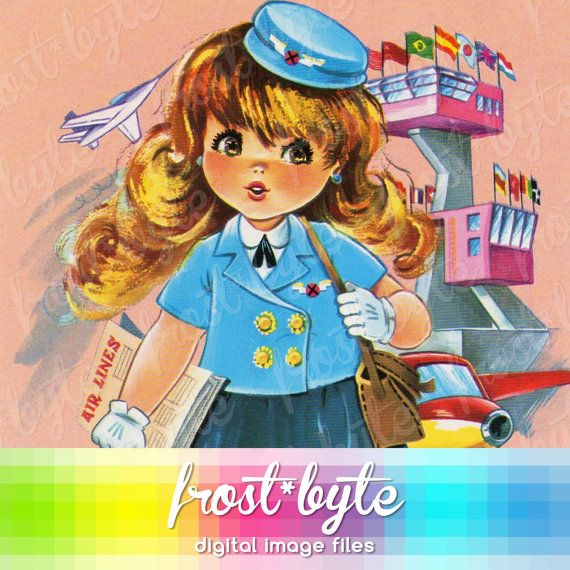 Big Eye Stewardess Image Vintage image instant by frostbyte (Art & Collectibles, Drawing & Illustration, air hostess, cute, 1970s, flight attendant, stewardess, airline, aviation, 60s, luggage, air line, airport, scrapbooking, bigeye)