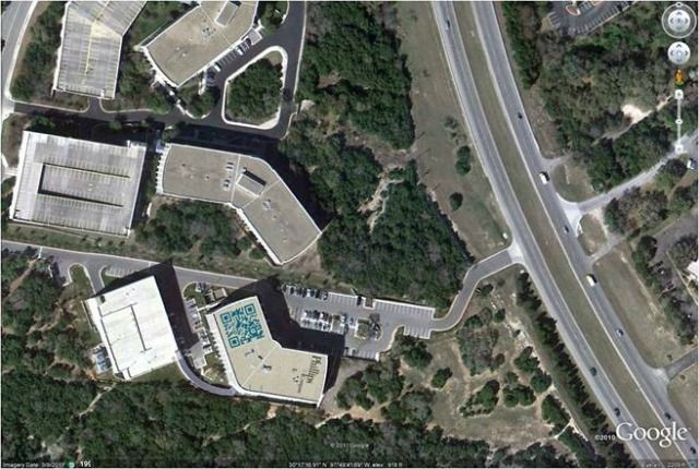 QR Codes Seen from the Sky in Google Maps