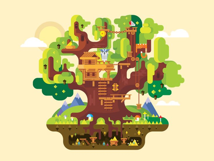 Dribbble - Fabulous tree house by Anton Frizler (Kit8)