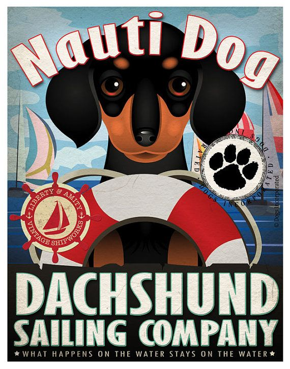 Dachshund Sailing Company Original Art Print  by DogsIncorporated, $29.00