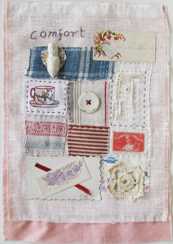 Art quilt stitch embroidery patchwork doll by ColetteCopeland, $48.00