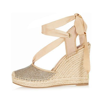 Gold lace-up espadrille wedges £45.00
