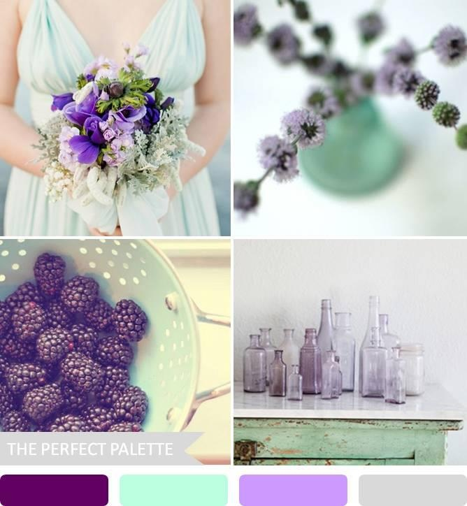 mint and plum wedding - love the bridesmaid color with the bouquet