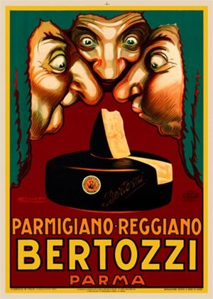 Bertozzi Parmigano Mauzan poster print - Beautiful Vintage Poster Reproductions. Italian culinary / food poster features three men with green wigs sniffing a wedge of cheese from a larger wheel. Giclee Advertising Prints. Classic Posters