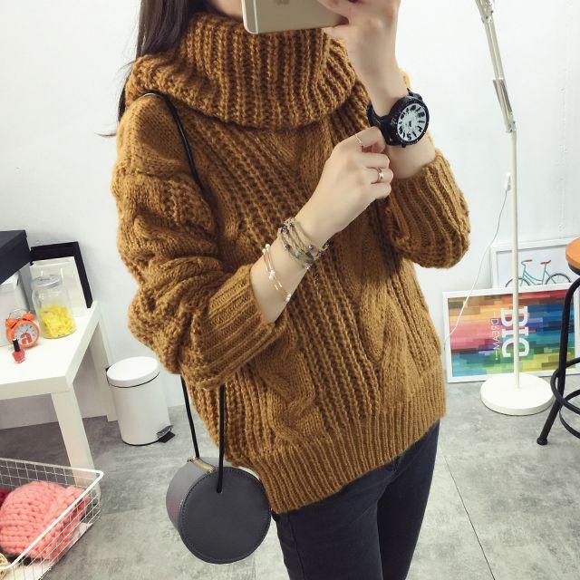 Женская мода новая Осень зима свитер большой размер Конопли цветы шаблон…