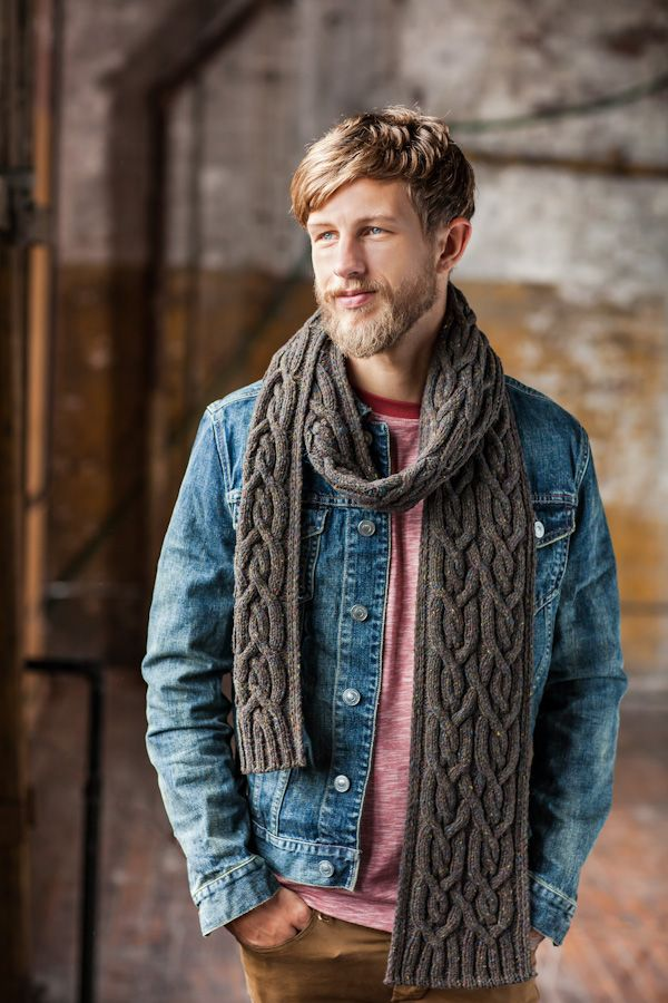 NECK: Quay Ribbed Wool Cable Extra Long Scarf by Brooklyn Tweed