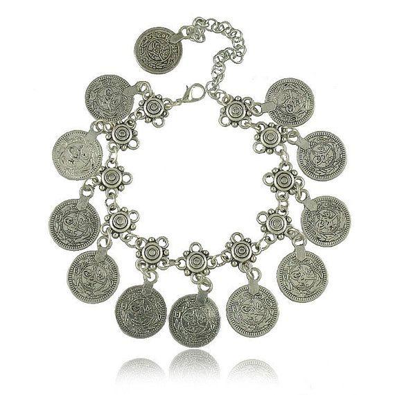 Coin Bracelet-Boho bracelet jewelry silver jewelry  by JustBoho