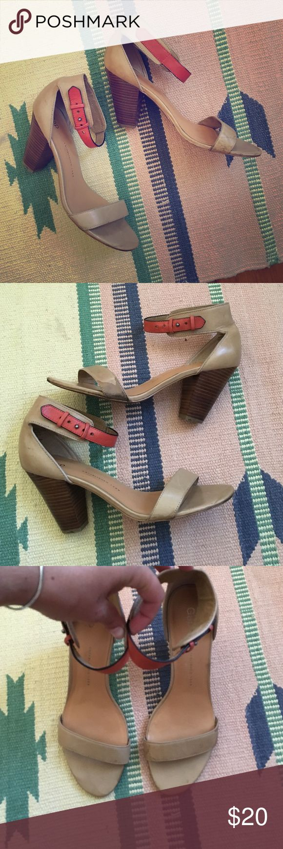 Gap heels In good condition, slightly dirty but hard to notice when wearing! Also may be able to spruce up! Haven't tried. Pricing low! Leather and extremely comfortable and cute GAP Shoes Heels
