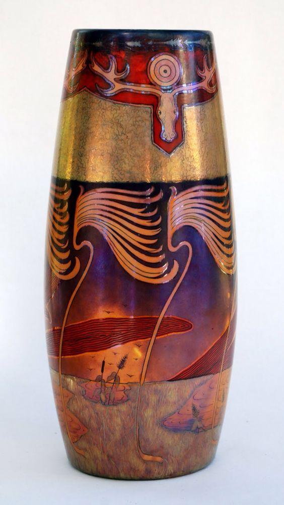 Zsolnay, Hungary, Eosin glaze ceramic vase, panoramic, with elk head