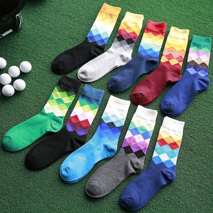 10 Pairs/Lot Men's Socks British Style Plaid Calcetines Gradient Color Brand Elite Long Cotton for Happy Men Socks