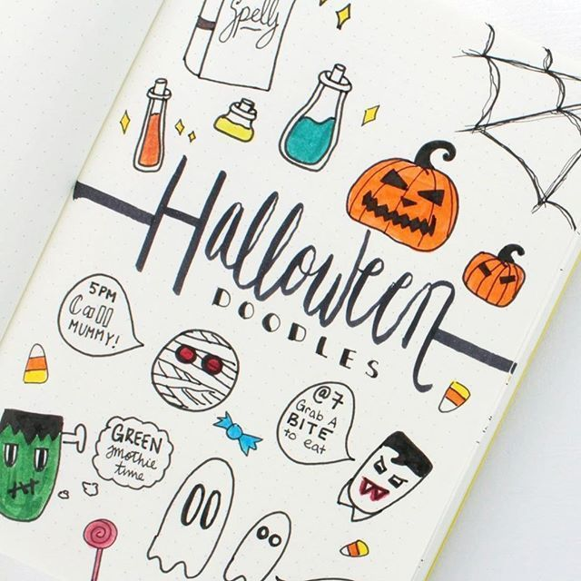 Halloween will be here before we know it, so I thought now was a good time to post my BULLET JOURNAL HALLOWEEN DOODLES ! #bulletjournal #halloween #bujo