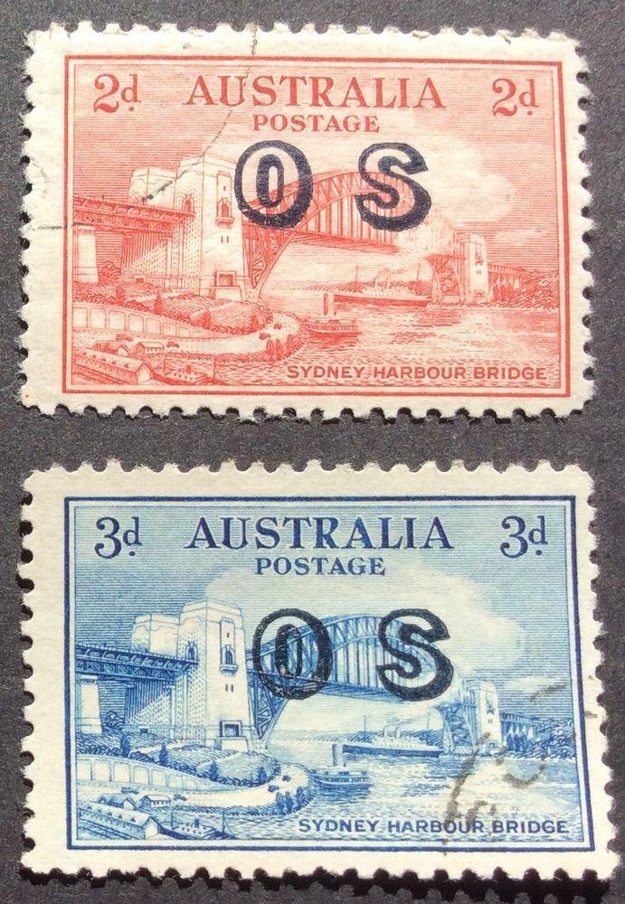 1932 Sydney Harbour Bridge 2d Red 3d Blue OS Officials CTO Original Gum in Stamps, Australia, By Type   eBay!