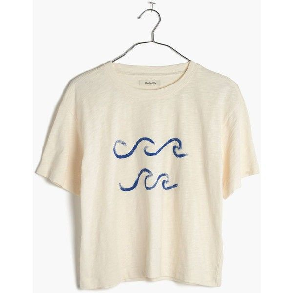 MADEWELL Waves Tee ($40) ❤ liked on Polyvore featuring tops, t-shirts, bright ivory, boxy crop top, crop top, white t shirt, boxy tee and white cotton t shirts