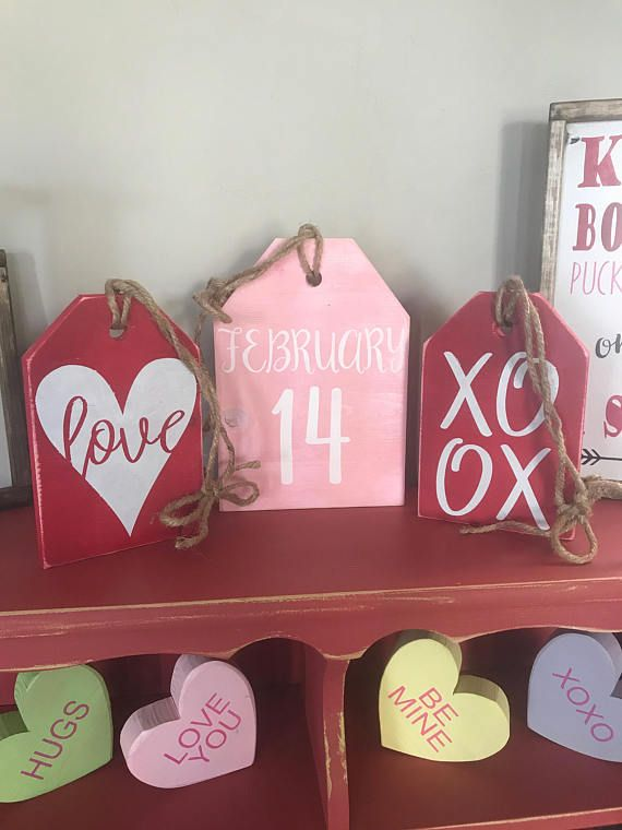 Valentines Farmhouse Tags February 14 Love Sign Xoxo Rustic