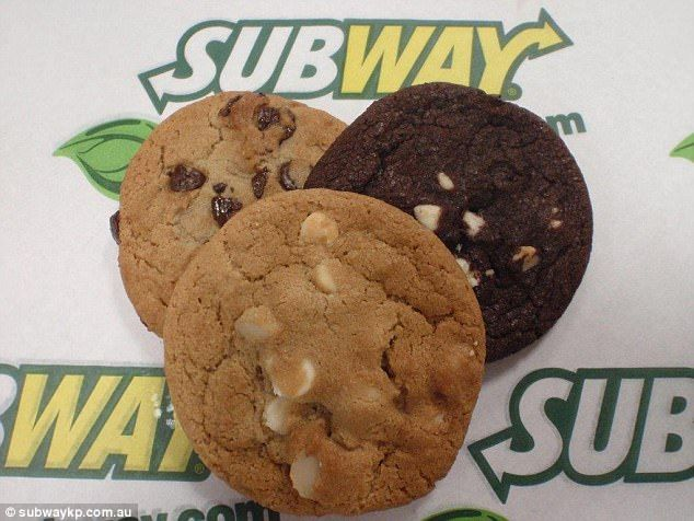 Subway cookies :       One packet of cake mix (or brownie mix: can experiment)      Two eggs      1/3 cup of vegetable oil      Sprinkles or M&M's  Baked at 350 for 10 minutes..
