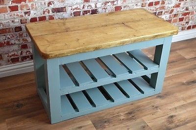 Hall bench double 3ft-6ft #reclaimed pine #farmhouse shoe storage-free…