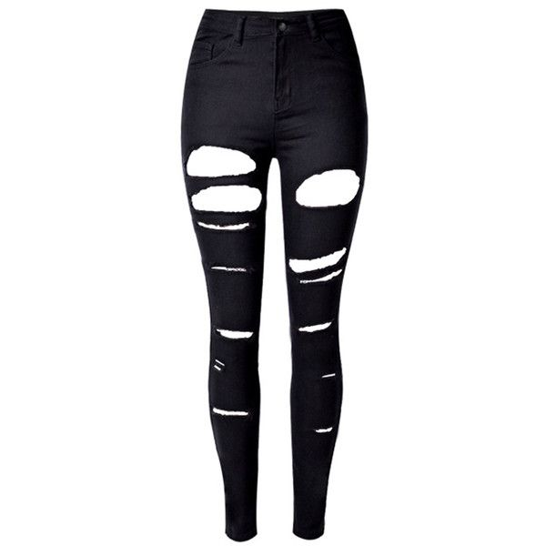 Black High Waist Ripped Skinny Jeans (£32) ❤ liked on Polyvore featuring jeans, pants, bottoms, calças, high waisted jeans, distressed skinny jeans, stretch skinny jeans, high-waisted jeans and distressed jeans