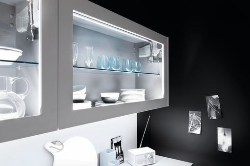 Gorgeous 'glowing' wall units, a great feature for a modern kitchen