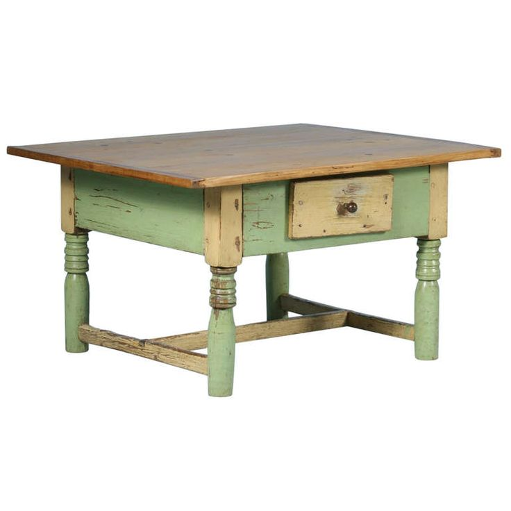 Antique Original Painted Light Green Coffee Table with Pine Top | From a unique collection of antique and modern coffee and cocktail tables at https://www.1stdibs.com/furniture/tables/coffee-tables-cocktail-tables/