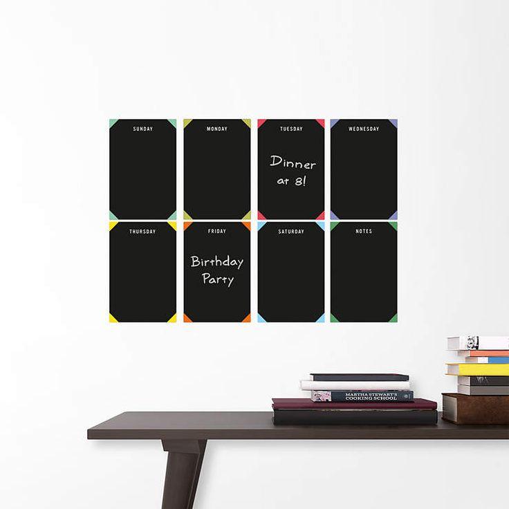 Weekly Chalkboard Grid Calendar Wall Decal