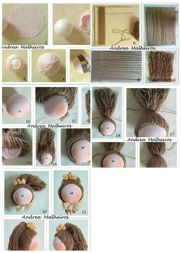 como poner el pelo a una muñeca de trapo