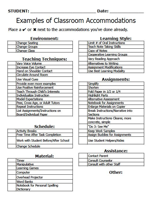 Classroom Accommodations Check List