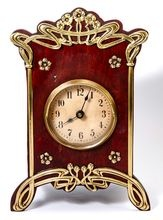 French Art Nouveau clock ~ Wood and brass