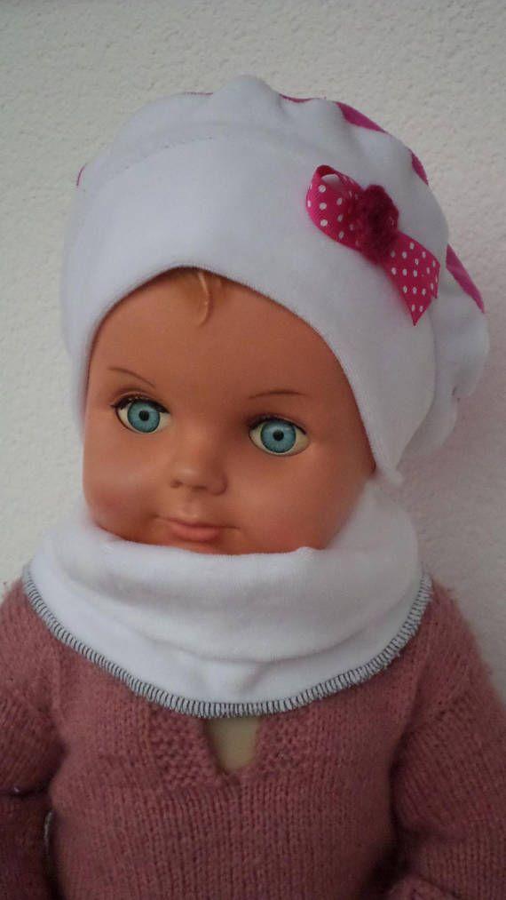 bonnet béret chapeau et snood bébé fille lin eva kids velours rose et blanc 69d74efa6ea