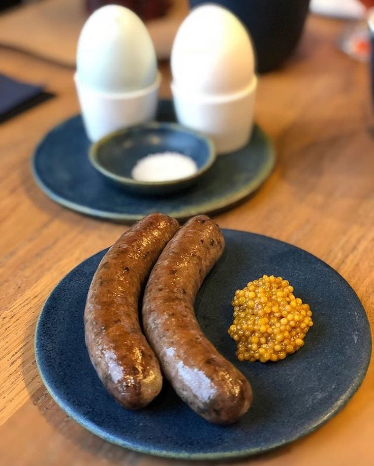 """244 Likes, 4 Comments - The Corner @108cph (@thecorner_108) on Instagram: """"Soft boiled eggs and fresh pork sausage with mustard. Our breakfast game is 💪 #thecorner108 (photo…"""""""