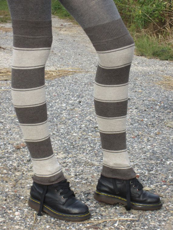 Thigh Highs Boot Socks Striped Leg Warmers Brown by Vacationhouse, $30.00