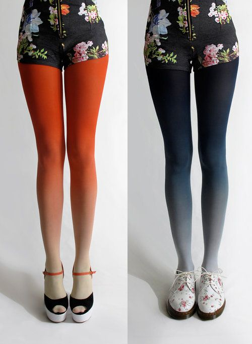 ombre tights!: Floral Shorts, Fashion Ideas, Shorts Shorts, Colors Tights, Ombré Tights, Future Closet, Ombre Obsession, Ombre Tights Someone, Faded Tights