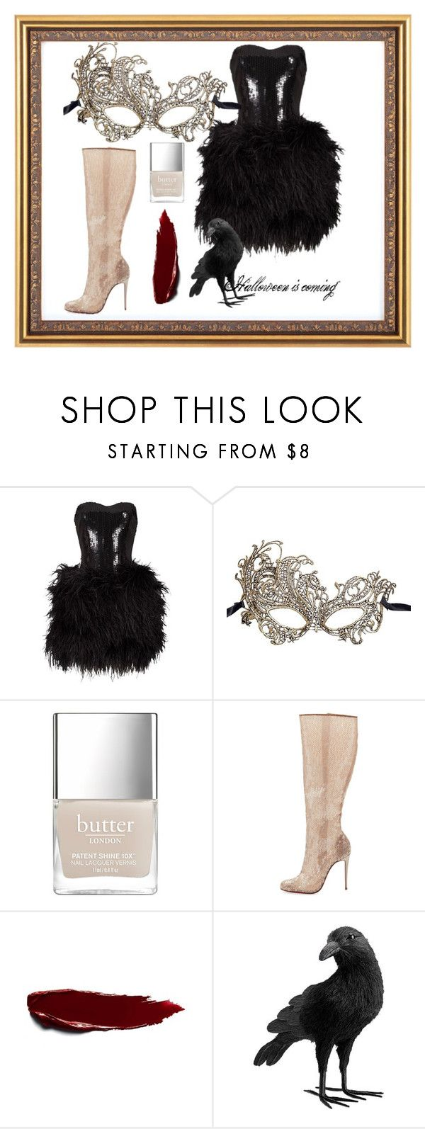 """Halloween is coming"" by scheylly ❤ liked on Polyvore featuring Lillie Rubin, Masquerade, Christian Louboutin and Pottery Barn"