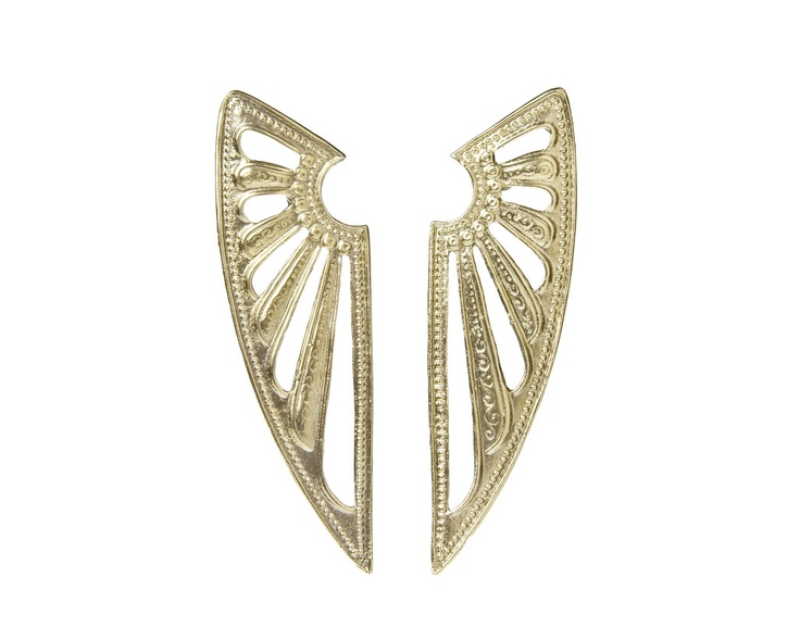 Deco Wing Earrings: Contemporary Jewels, Earrings 198, Wings Earrings, Deco Earrings, Art Deco, Alkemi Jewelry, Deco Fans, Alkemi Deco, Deco Wings